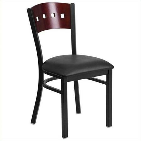 Flash Furniture HERCULES Series Black Decorative 4 Square Back Metal Restaurant Chair, Mahogany Wood Back, Black Vinyl Seat