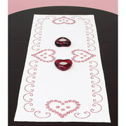 "Jack Dempsey Valentine's Day Stamped Table Runner, 15"" x 42"""