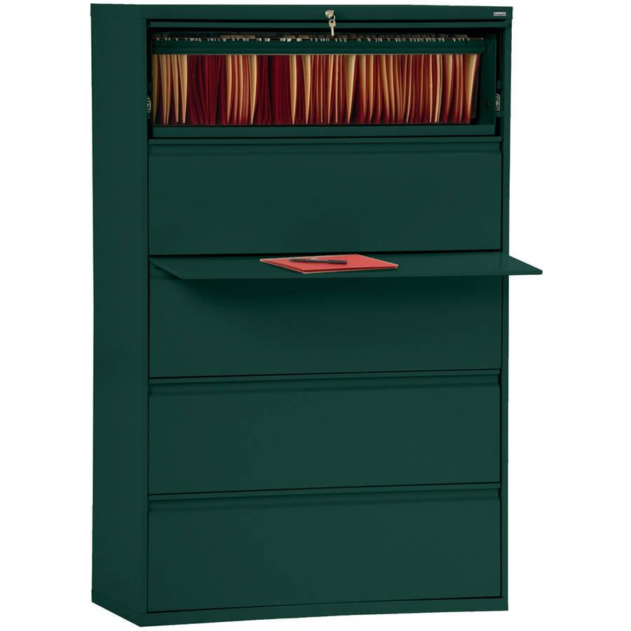 "Sandusky Lee 800 Series 42"" 5-Drawer Full Pull Lateral File, Forest Green"
