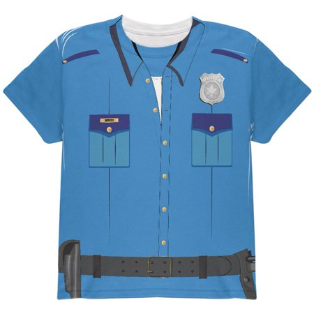 Halloween Patrol Blue Police Officer Costume All Over Youth T Shirt (Halloween Safety Tips From Police)