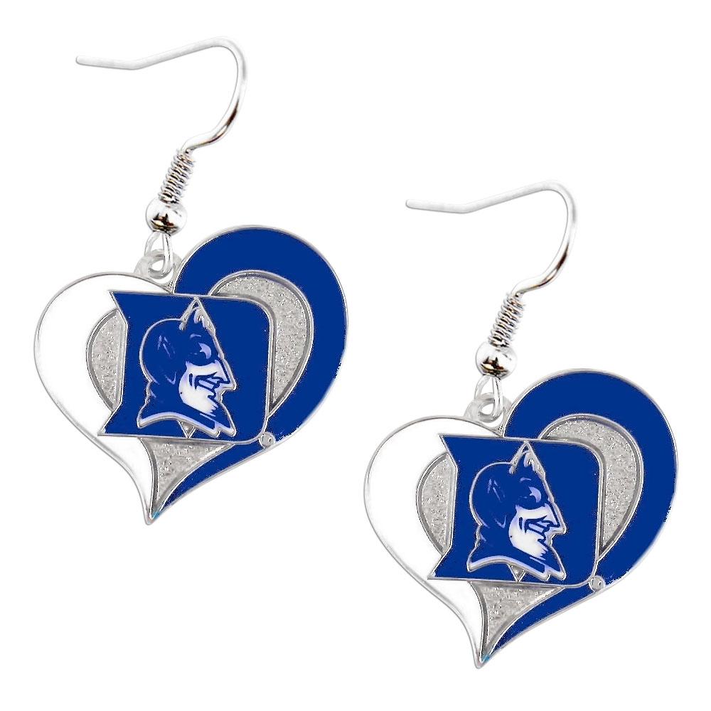 NCAA Duke Blue Devils Sports Team Logo Swirl Heart Dangle Earring Set