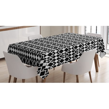 Abstract Tablecloth  Geometric Inspirations With Rhombuses And Triangle Shapes Monochrome Illustration  Rectangular Table Cover For Dining Room Kitchen  52 X 70 Inches  Black White  By Ambesonne
