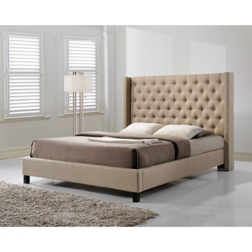 Altos Home Pacifica King-size Tufted Beige Fabric Upholstered Platform Bed by Overstock