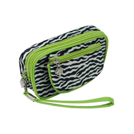 Lime Green Zebra Print Wristlet Makeup Case - Zebra Makeup