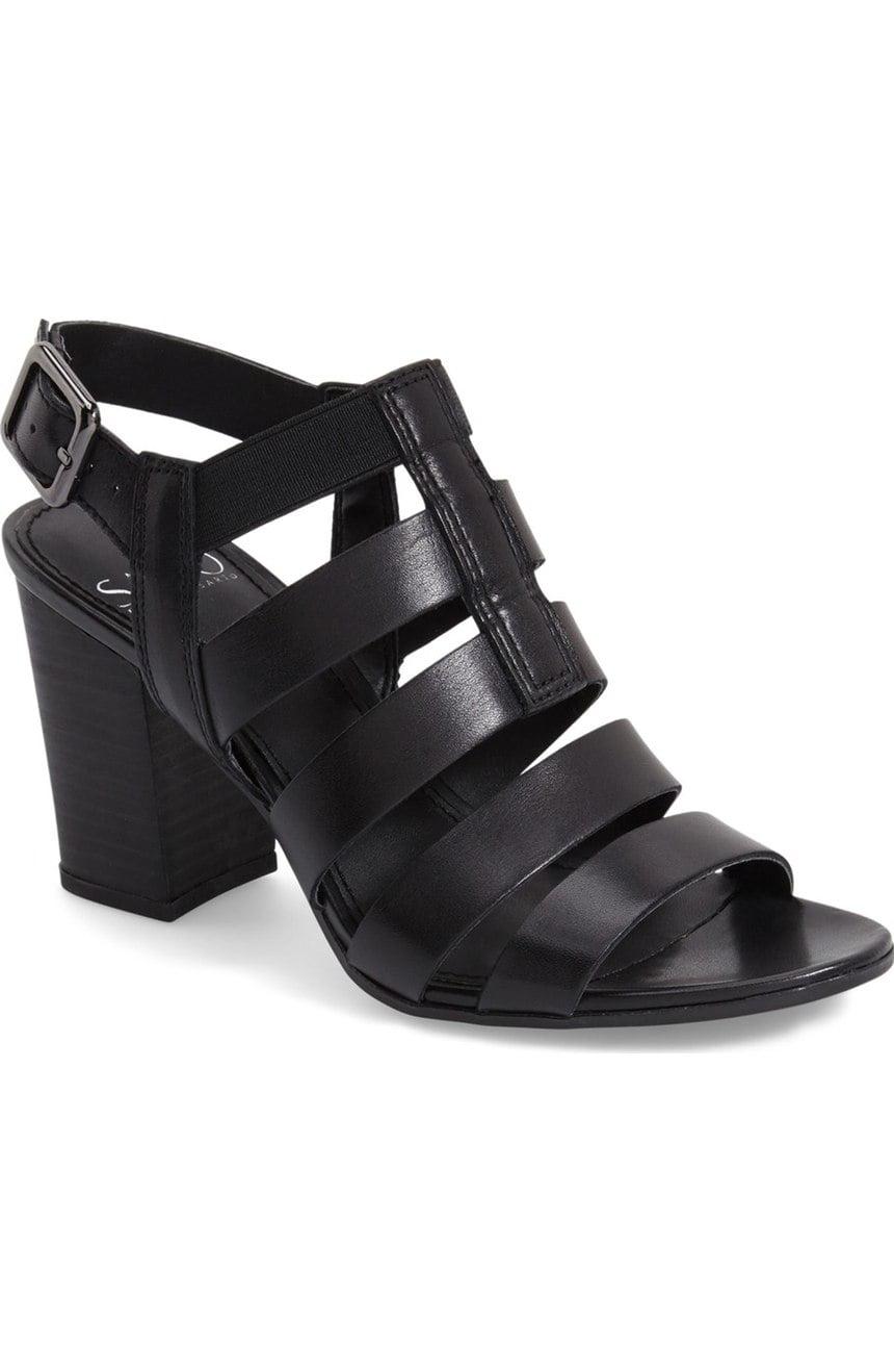 Franco Sarto Women's MONTAGE Dress Sandal BLACK LEATHER,9.5
