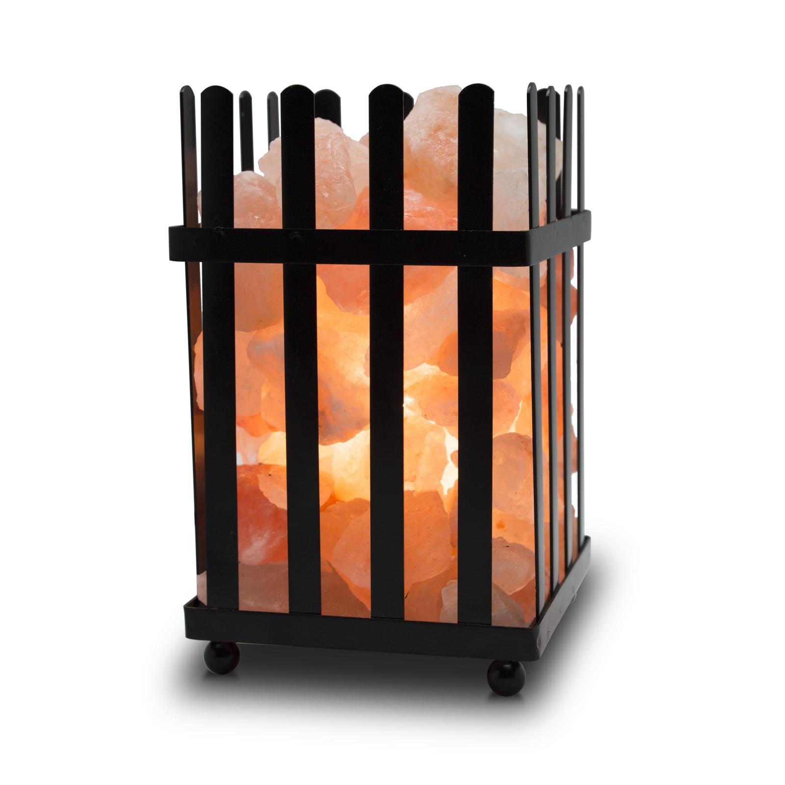 WBM 1333 Himalayan Glow Natural Himalayan Picket Fence Style Basket salt lamp (6 To 7 lbs) Himalayan Pink Salt NightLamp with Salt Chunks, Bulb and Brightness Adjustable Dimmer
