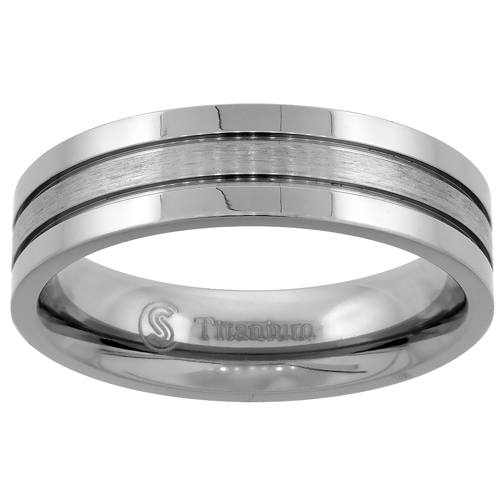 Titanium 6mm Wedding Band Ring 2 Grooves Brushed Center Flat Comfort Fit, sizes 7 - 14