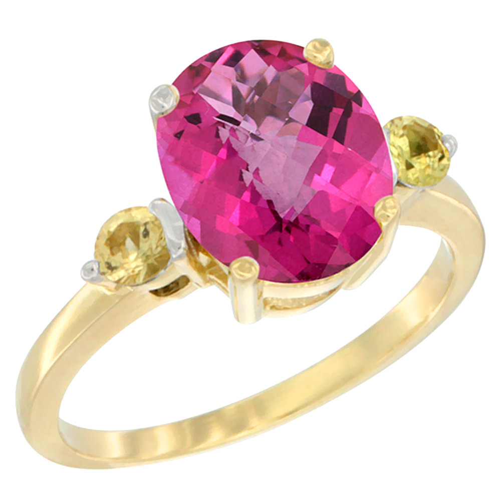 10K Yellow Gold Natural Pink Topaz Ring Oval 10x8mm Yellow Sapphire Accent, sizes 5 10 by WorldJewels