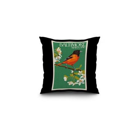Baltimore, Maryland -Oriole Letterpress -  Lantern Press Artwork (16x16 Spun Polyester Pillow, Black Border)