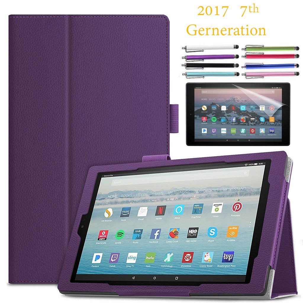"EpicGadget Amazon Fire HD 10"" Case (2017) With Auto Sleep/Wake, Fire HD 10 7th Gen Stand Lightweight Cover PU Leather Case For 2017 Fire HD 10 + 1 Screen Protector and 1 Stylus (Purple)"