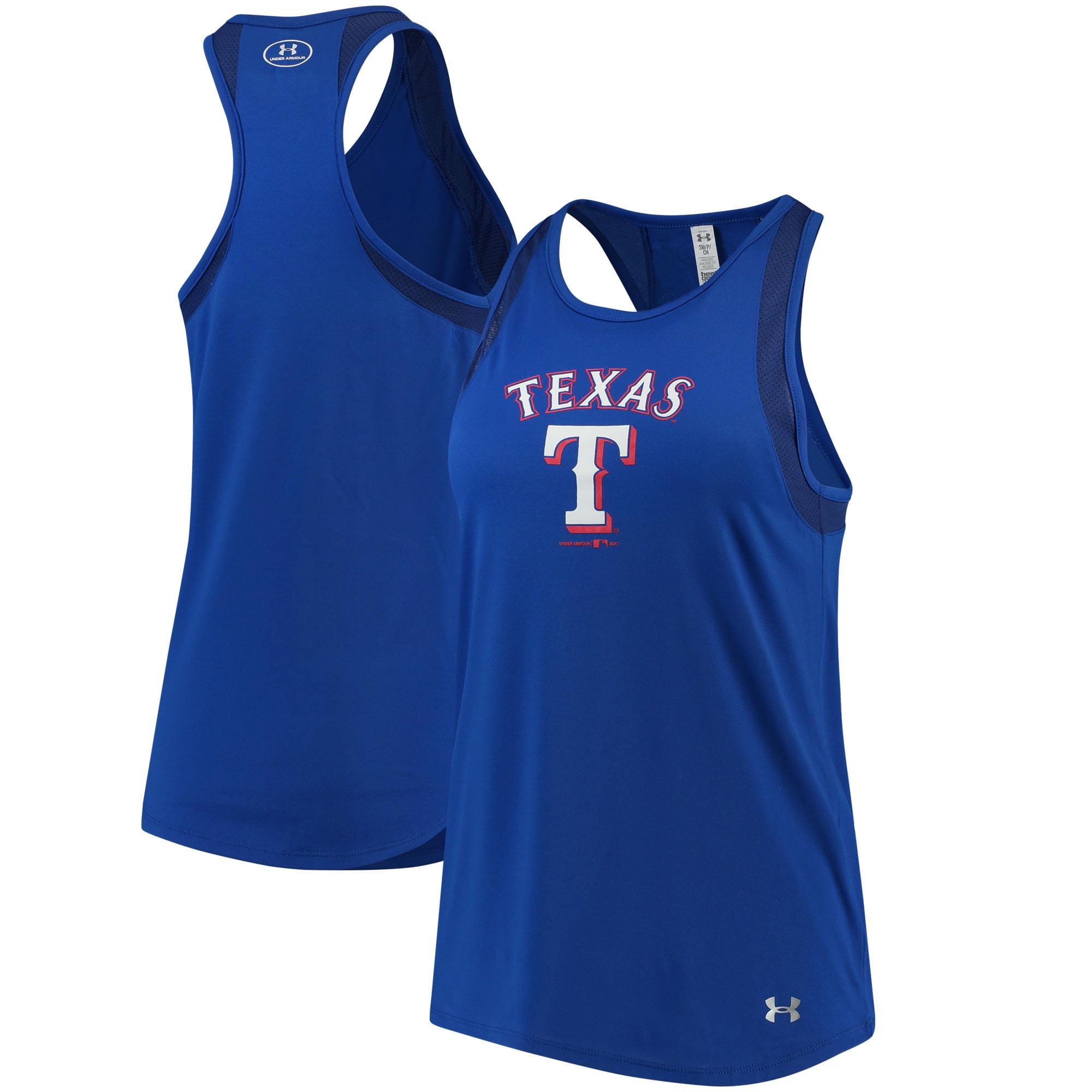 Texas Rangers Under Armour Women's Pointelle Mesh Performance Tank Top - Royal