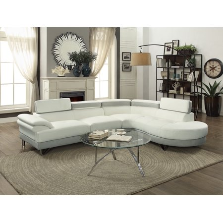 Contemporary Beautiful 2pcs Sectional Sofa Chaise White & Grey Faux Leather Chrome Legs Flip up Headrest Living Room Furniture