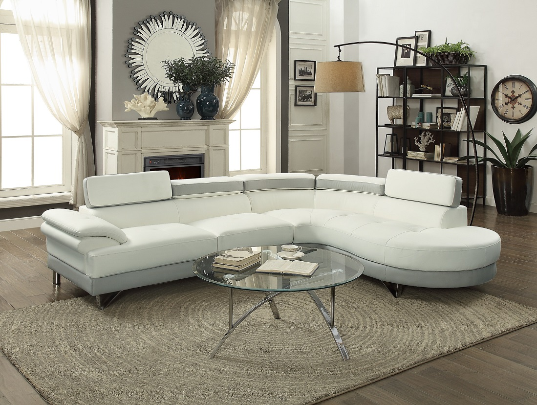 Attractive Product Image Contemporary Beautiful 2pcs Sectional Sofa Chaise White U0026  Grey Faux Leather Chrome Legs Flip Up Headrest