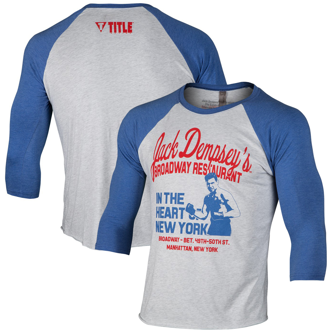 Title Boxing Jack Dempsey Restaurant Legacy T-Shirt - Royal/Heather White