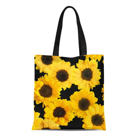 LADDKE Canvas Tote Bag Above Photos of Shiny Yellow Sunflowers on Autumn Beautiful Reusable Shoulder Grocery Shopping Bags Handbag