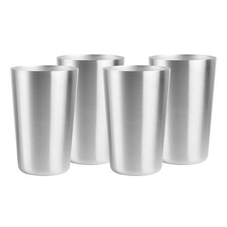 e8c09697090 Smooth Edge Stainless Steel Cups - Indoor Outdoor Party Camping Picnic  Stackable Drinking Cups - 16 oz, 4 Pack - Walmart.com