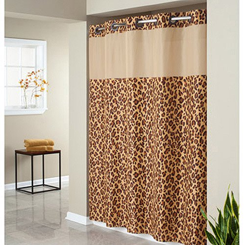 Hookless Leopard Print Mystery Polyester Shower Curtain