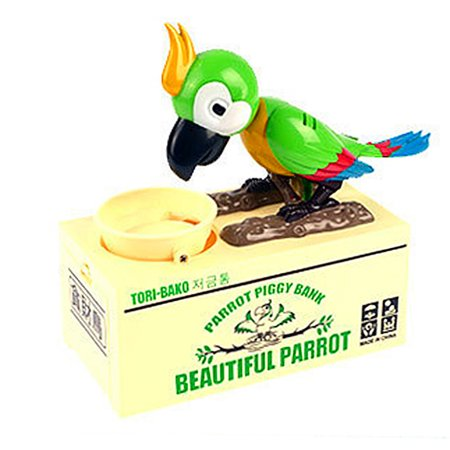 Stealing Coin Cat Money Box Piggy Bank Savings Box Green Parrot