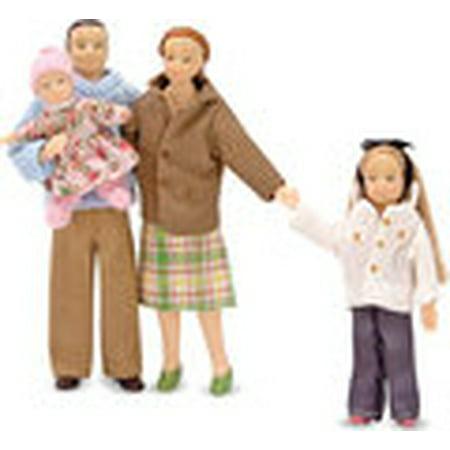 Melissa & Doug 4-Piece Victorian Vinyl Poseable Doll Family for Dollhouse - 1:12 Scale