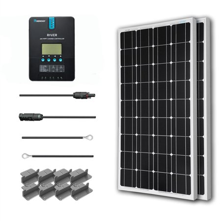 Renogy 200W 12V Solar Panel Monocrystalline Off Grid Starter Kit with 20A Rover MPPT Charger Controller