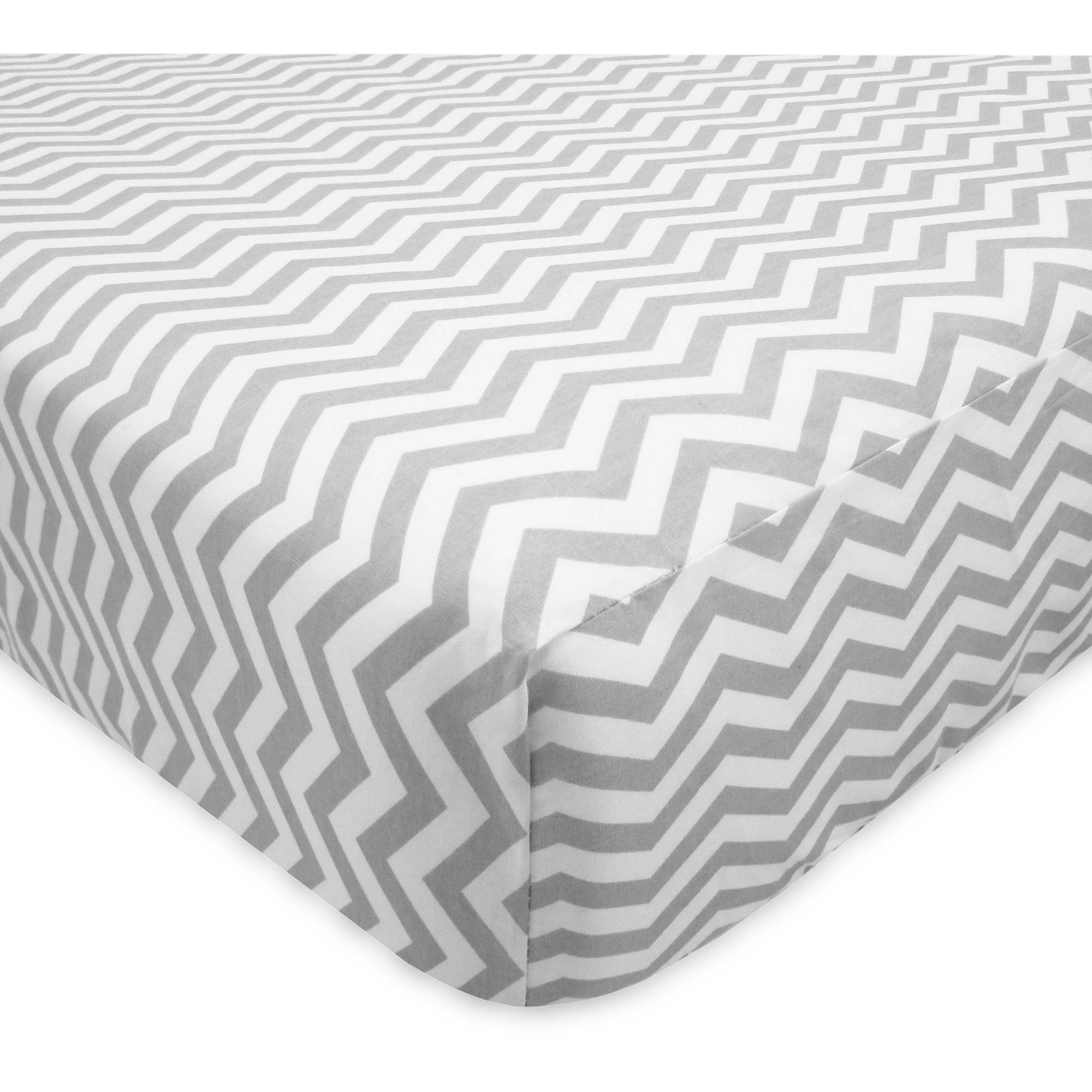 TL Care 100 Percent Cotton Percale Fitted Crib Sheet, Gray Zigzag