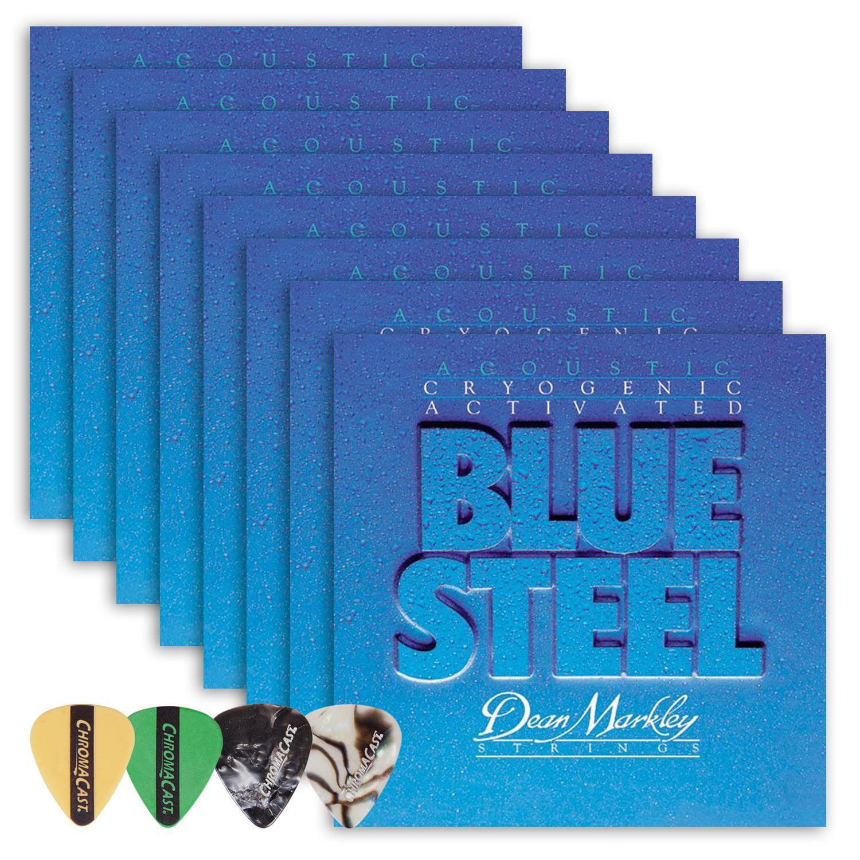 Dean Markley 2034 Blue Steel Light Gauge Acoustic Guitar String(.011-.052) 8 Pack, with ChromaCast 4 Pick Sampler