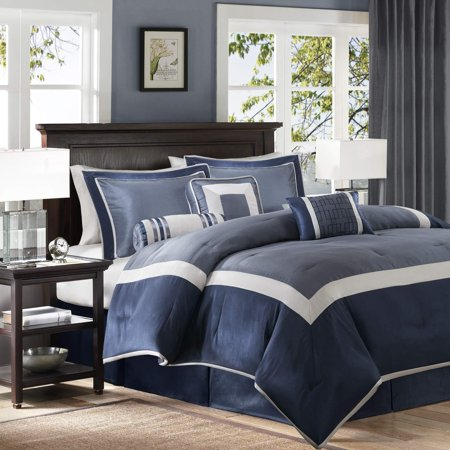 Madison Park Genevieve Cal King Size Bed Comforter Set Bed in A Bag - Navy, Pieced â?? 7 Pieces Bedding Sets â?? Faux Silk Bedroom (Madison Park Infinity Pieced Faux Silk Shower Curtain)