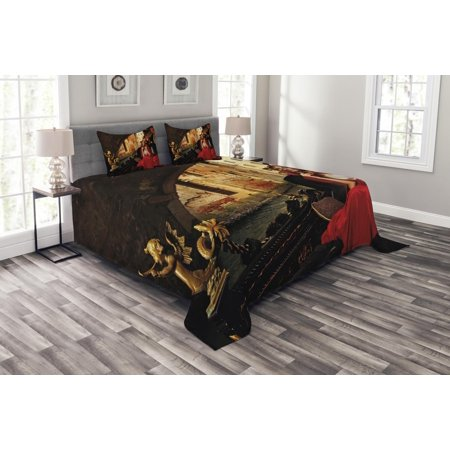 Venice Bedspread Set, Young Woman with a Red Cloak and Carnival Mask Riding on Antique Gondola, Decorative Quilted Coverlet Set with Pillow Shams Included, Red Black Pale Brown, by Ambesonne