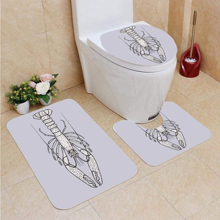 Gohao Lobster Crayfish In Vintage Style 3 Piece Bathroom
