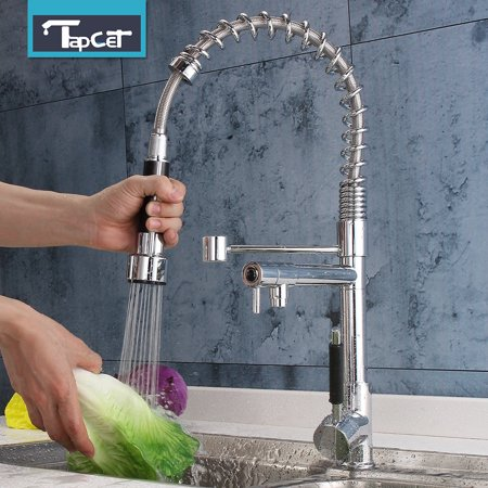 Pillar Tap Faucet Finish (TAPCET Modern Chrome Finish Pull Out Spring Kitchen Faucet Rotating Spout Sink Mixer Tap)