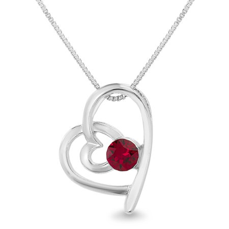 Faceted Crystal Ruby Red Heart Necklace made with Swarovski - Faceted Ruby Pendant