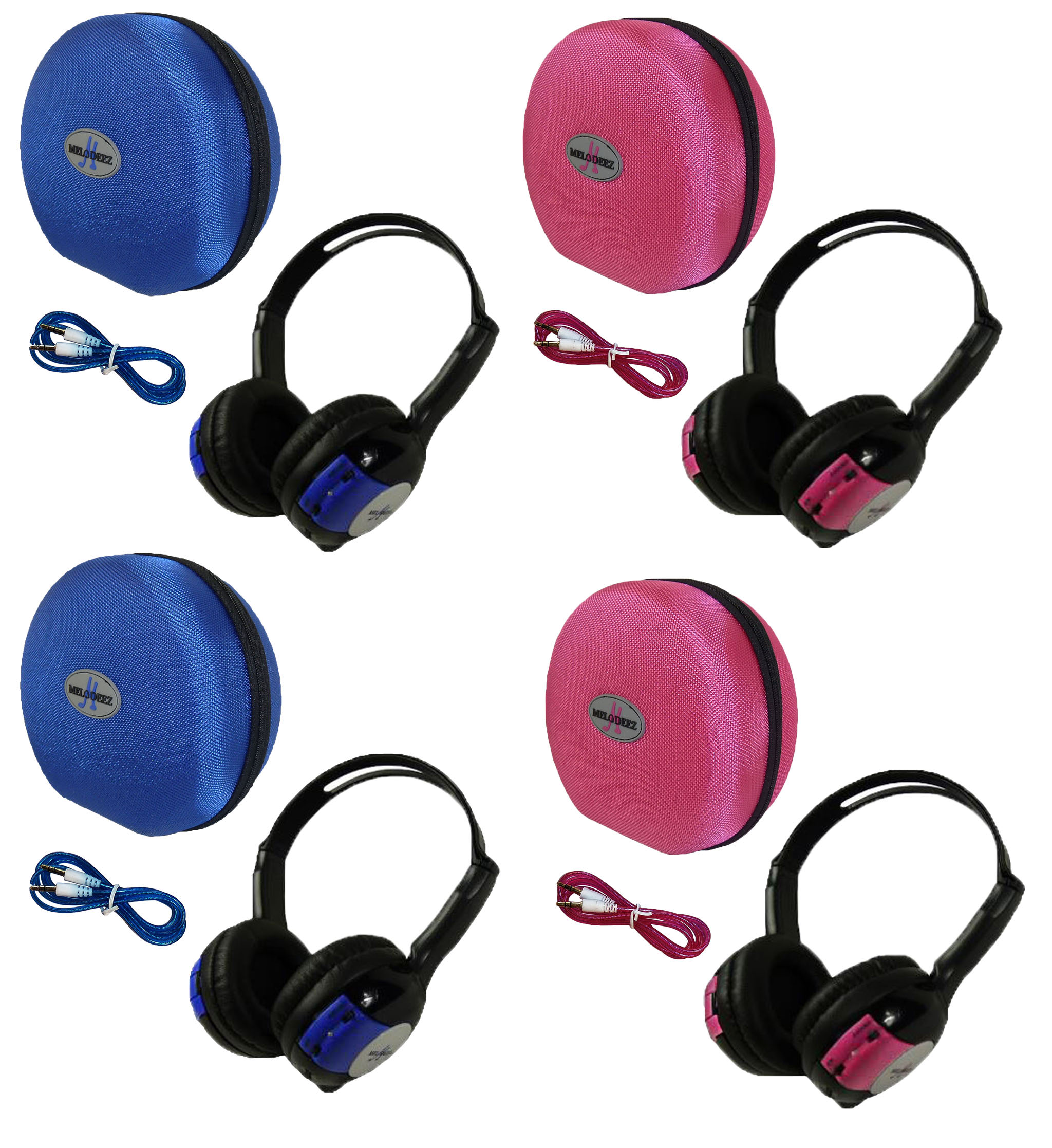 4 Pack Kid Sized Wireless Infrared Universal Car DVD IR Automotive Colored Adjustable 2 Channel Headphones With Case and 3.5mm Auxiliary Cord