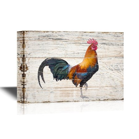Canvas Rooster Print Set (wall26 Birds and Poultry Canvas Wall Art - A Colorful Rooster - Vintage Wood Style Giclee Print Gallery Wrap Modern Home Decor | Ready to Hang - 12x18 inches)