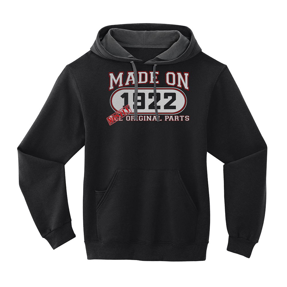 94th Birthday Hoodie -  Mostly Original Parts - Born 1922 - Black - Medium