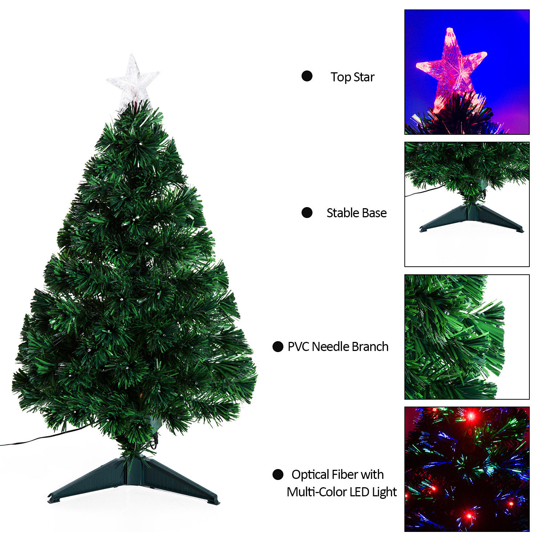 HomCom Artificial Fiber Optic and LED Prelit Holiday Christmas Tree ...