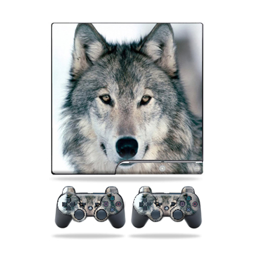 Skin Decal for Sony Playstation 3 PS3 Slim + 2 controllers sticker Wolf