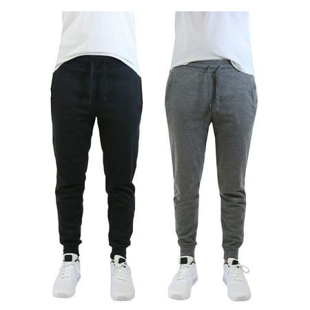 Fleece Mens Pants - Mens Fleece Jogger Sweatpants With Zipper Pockets (2-Pack)