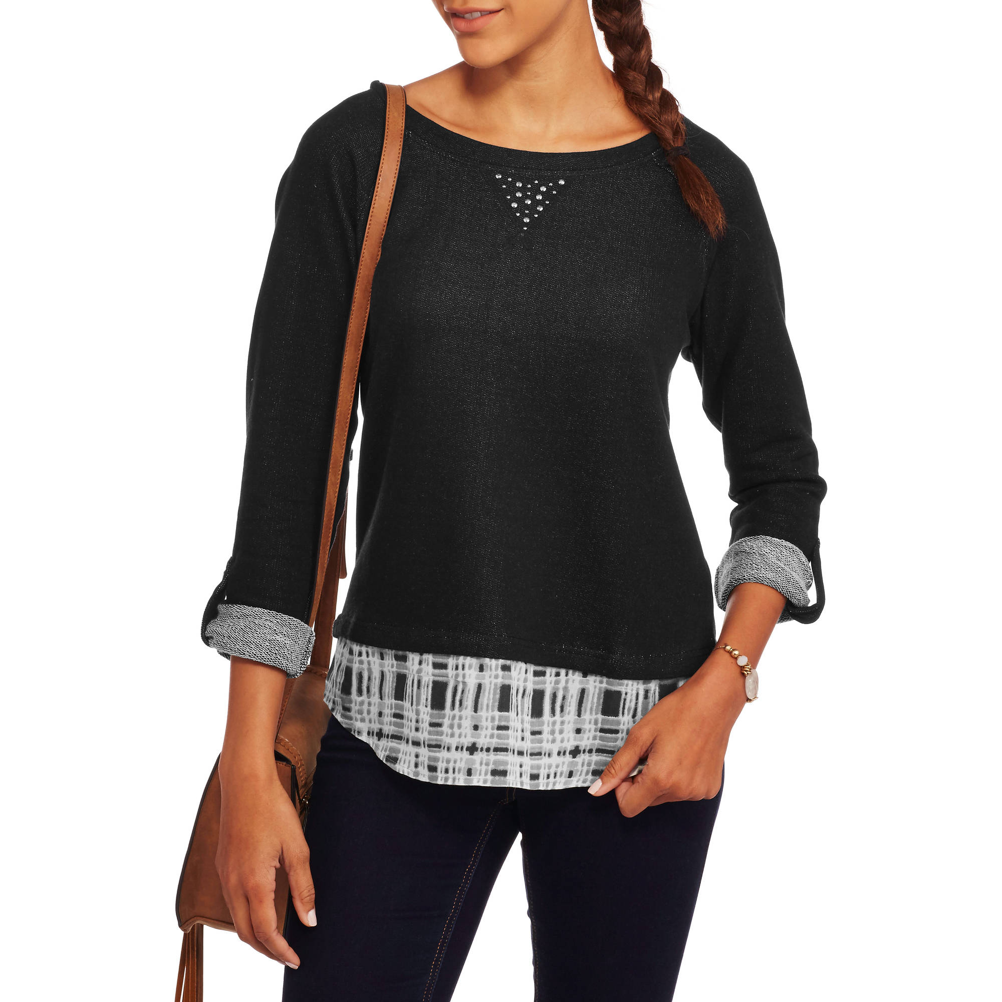 French Laundry Women's Fashion Sweatshirt 2fer Top