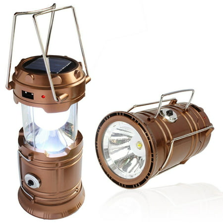 Solar Powered Camping Lantern, Solar LED Camp Light & Handheld Flashlight, Gold - Led Handheld Light