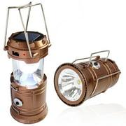 Solar Powered Camping Lantern, Solar LED Camp Light & Handheld Flashlight, Gold