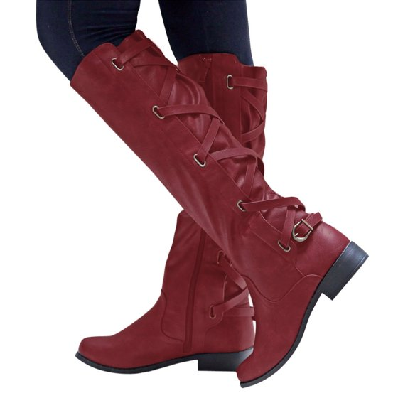 cb78ac57009 Womail - Womail Women Ladies Shoes Buckle Roman Riding Knee High ...
