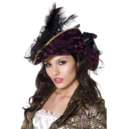 Womens Caribbean Pirate Captain Purple Hat With Feathers Costume Accessory](Womens Pirate Accessories)
