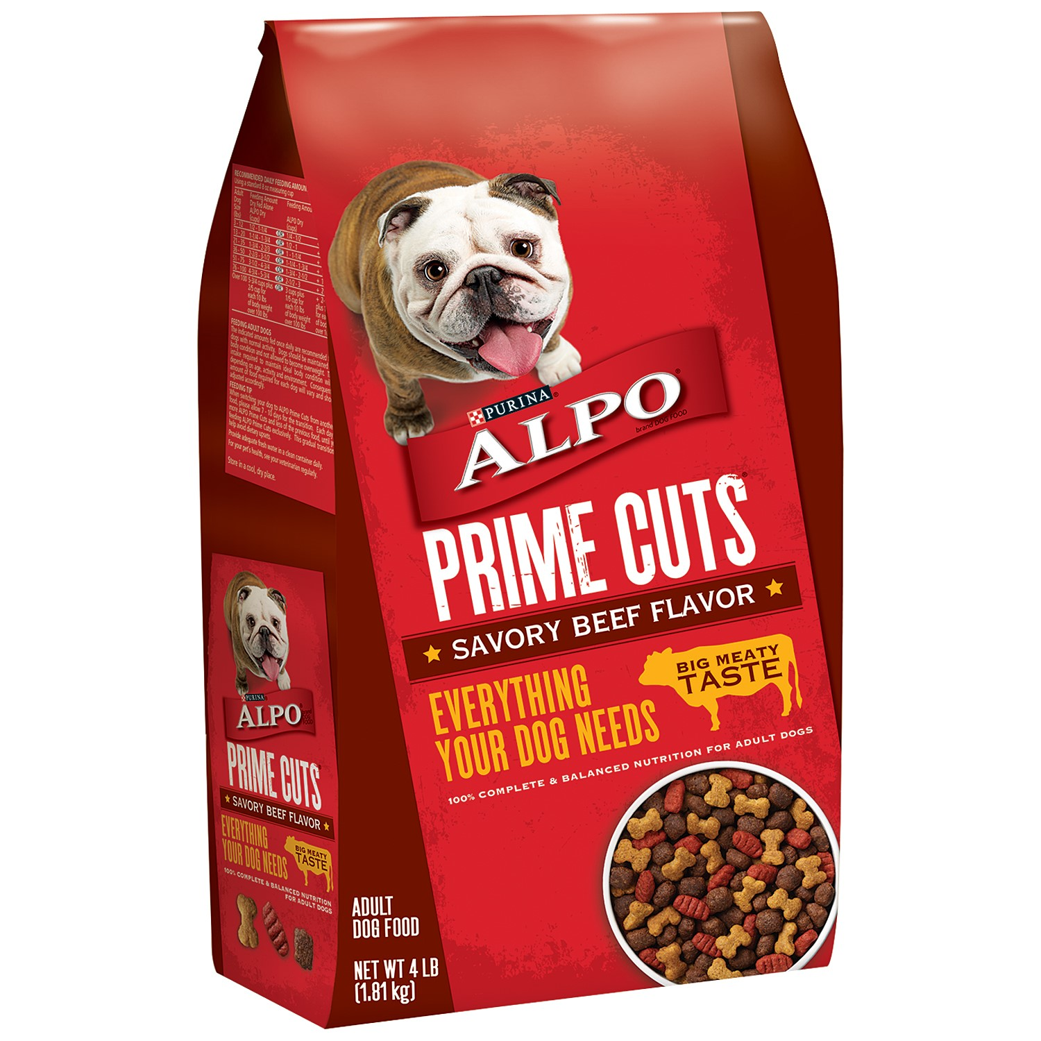 Purina Alpo Prime Cuts Savory Beef Flavor Dry Dog Food, 4 Lb.