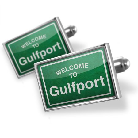 Cufflinks Green Road Sign Welcome To Gulfport   Neonblond