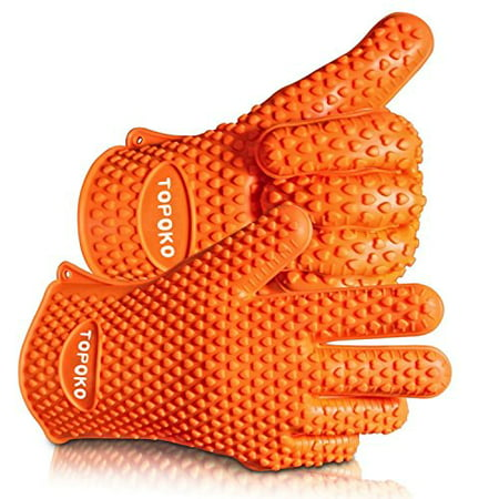 Silicone BBQ Grilling Gloves Oven Mitts Gloves for Cooking Baking Barbecue Potholder (orange)