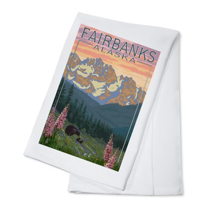 Fairbanks, Alaska - Bear & Cubs Spring Flowers - Lantern Press Poster (100% Cotton Kitchen Towel) Alaska Cub Bear Knife