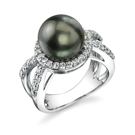 Sterling Silver 10mm Gorgeous Tahitian Cultured Pearl Leah Ring ()