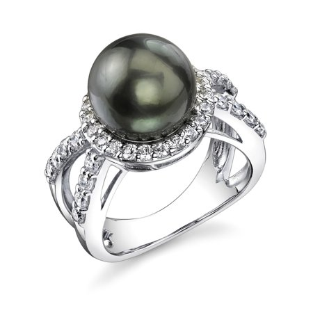 Sterling Silver 10mm Gorgeous Tahitian Cultured Pearl Leah Ring