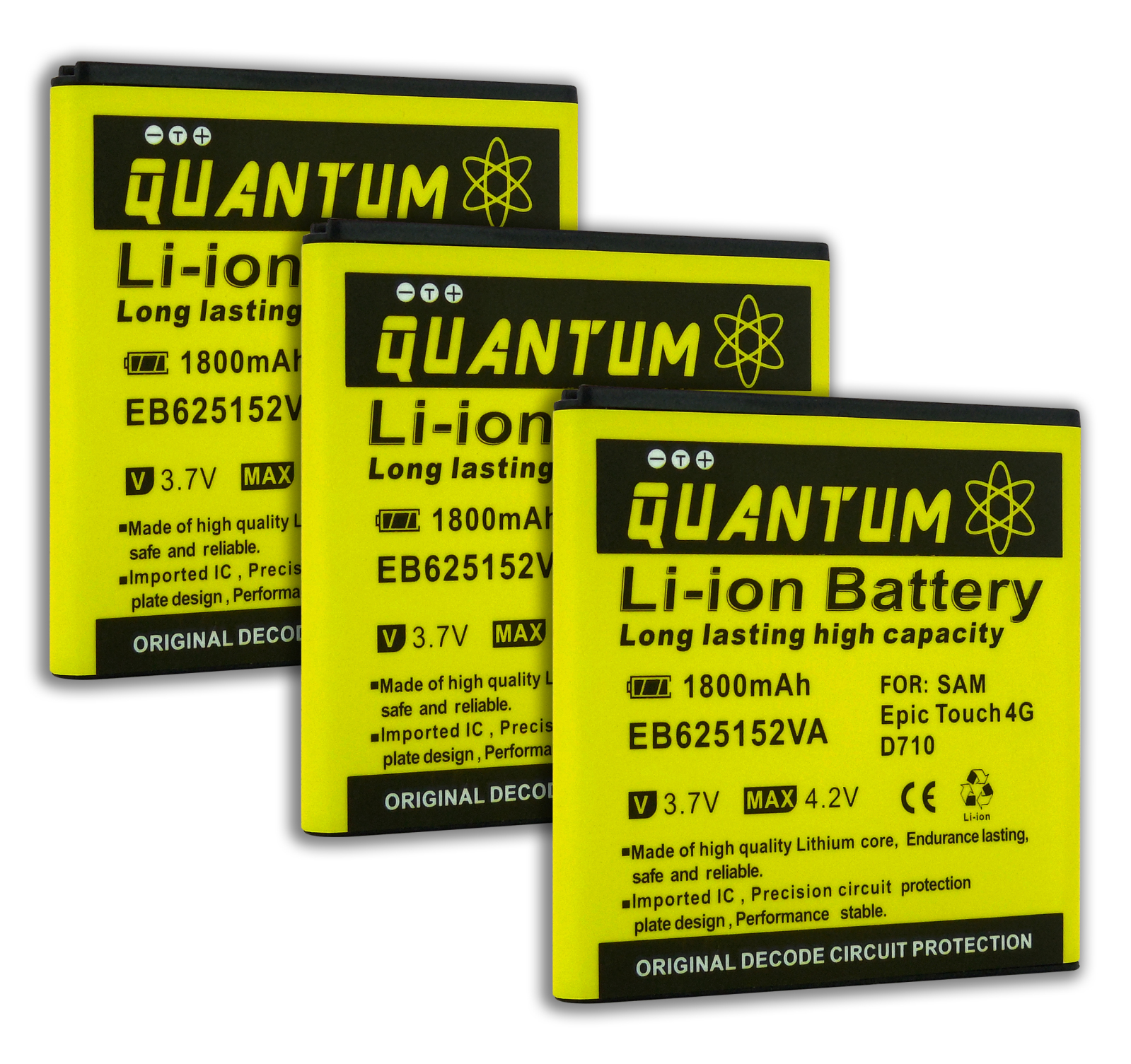 QUANTUM 3x 1,800 mAh Batteries for Galaxy S2 Epic 4G Touch SPH-D710, 12 MONTH WARRANTY