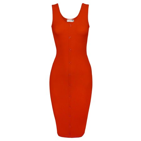 Classy Dresses For Teens (TAM WARE Women Classy Snap Buttons Sleeveless Bodycon)